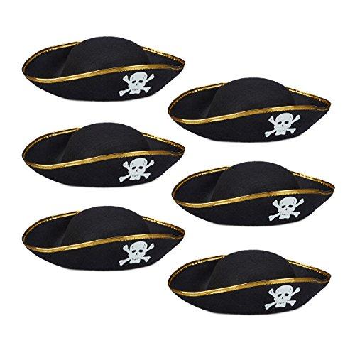 6x Piratenhut schwarz im Set, Dreispitz, mit Totenkopf, Kopfbedeckung für Fasching oder Karneval, Einheitsgröße, black