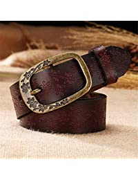 Uiophjkl Banda de Cintura Cinturones de Cuero Genuino para Mujeres Diseño  de Repujado de Piel de Vaca Hebilla Talla Grande… 3091d1dbfbca