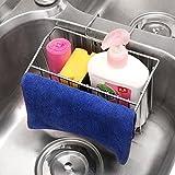 Porte éponge évier de cuisine en acier inoxydable 304Caddy Organiseur pour évier Égouttoir à vaisselle avec Upgraded(With Towel Rack)