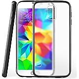 OneFlow Schutzhülle für Samsung Galaxy S5 Mini Hülle Silikon Case aus 1,5mm dünnem TPU | Zubehör Cover zum Handy Schutz | Handyhülle Bumper Tasche Durchsichtig Transparent in Schwarz