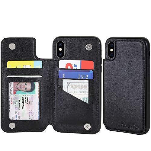 iPhone XS MAX Leder-Schutzhülle für Damen und Herren, 5 Kartenfächer, Schmetterlingsblumen-Design für iPhone 6S Plus, Black compact with XSMAX
