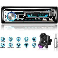 Lifelf Autoradios Bluetooth Mains Libres, Stéréo Radio 4 x 65W 1 DIN Radio Voiture Récepteur avec Lecteur MP3 WMA FM Télécommande, Deux USB Port, Soutien iOS, Android