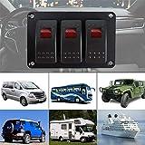 Qiyun Kippschalter Switch Panel Schalter Schalter 3 Positionen Leuchte Rot LED 12 / 24V mit 49 Sticker Modell