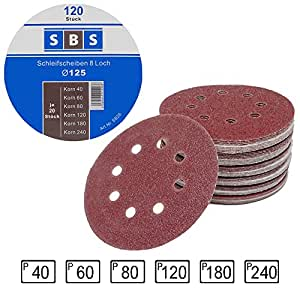 Lot de 120 disques abrasifs diamètre 125 mm grain 20 x 40//60//80//120//180//240