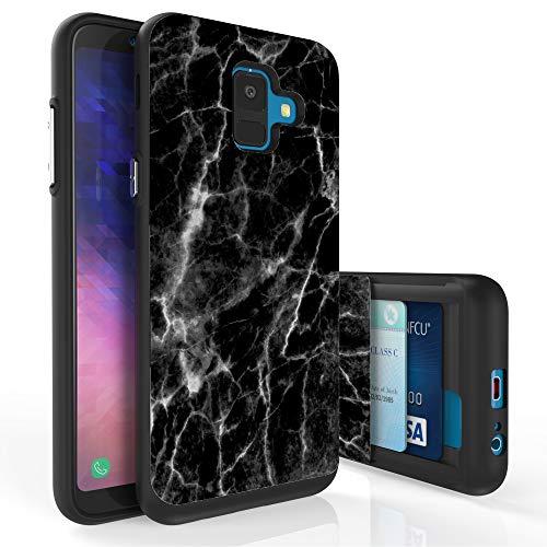 Black Galaxy Stone (Schutzhülle für Galaxy A6, PimpCase Slim Wallet Case + doppellagige Kartenhalter für Samsung Galaxy A6 SM-A600GN (Release 2018) Black Marble Stone)