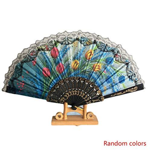 Fornateu Zufällige Farbe chinesische Art-Spitze-Hand Folding Fan-Tanzparty Hochzeitsdeko Handfächer Hochzeit Bevorzugungen