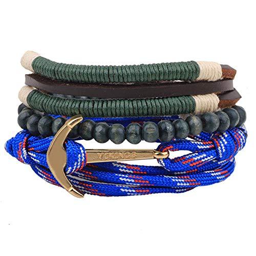 Maneray Punk Bracelet Regenschirm Seil Anker Holzperlen Multi Layer Geflochtenes Armband Perlen Armband Schmuck