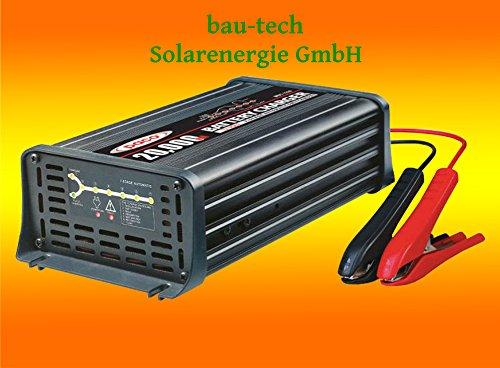 Batterieladegerät 12V, 20 Amper, 7-Stufen IUoU Automatik, Blei Calcium VRLA AGM GEL Nass von bau-tech Solarenergie GmbH