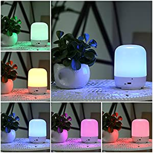 Lixada LED Atmosphere Lamp, 3-Level Warm White, 256 Colors RGB Changing, Aluminum Base Dimmable Bedside Desk Light with Touch Sensitive Control Panel, 360¡ã Illumination Mood Night Light from Lixada
