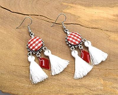Boucles oreilles chandelier vichy rouge, bijoux vintage année 60, lustre ronds tissu vichy rouge, bijoux à carreaux rouge et blanc