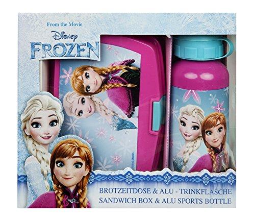"""Undercover Scooli FRSW9881, set con portavivande, lunch box, contenitore per alimenti e borraccia in alluminio - il miglior modo di portare la merenda a scuola - serie """"Disney Frozen"""""""