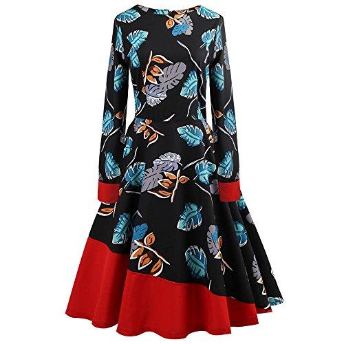 (VEMOW Herbst Elegante Damen Abendkleid Kleid Frauen Vintage Floral Bodycon Langarm Lässige Abendgesellschaft Prom Swing Dress Cocktailkleid Ballkleid (Blau, EU-36/CN-L))