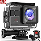 Victure Sports Camera 4K Ultra HD WI-FI 16 MP with Remote Control Camera Camcorder Waterproof 30 m 170 ° Grand-Angle with 2 LCD 2 Batteries Rechargeable 1050 mAh and 18 Accessories -