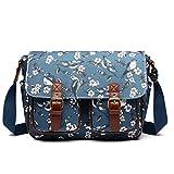 Miss Lulu Messenger Bag School Satchel Bookbag Oilcloth Bird Flower Cross-body Bags Handbag (1107-16J Dark Blue)