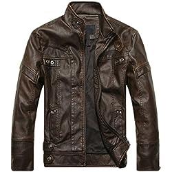 WanYang Para Hombre Chaqueta De Motorista Real Cuero Vendimia Top De Cuero De Abrigos De Moda Para Hombre Chaqueta Mens Fashion Jacket Asia L