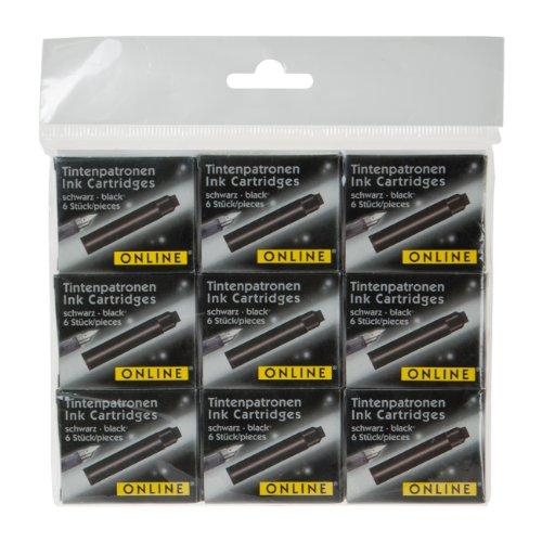 Online Schreibgeräte 17033 - Füllhalter Tintenpatronen, 9 Pack, schwarz - Schwarz Tinte Pigment Refill