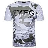 UJUNAOR Herren Lässige Camouflage Gedruckter Brief O Hals Pullover T-Shirt Top Bluse(2XL,Weiß)