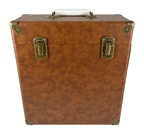 GPO Portable Carry Case for LP Records and 12-Inch Vinyl-Brown