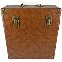 GPO Portable Carry Case for LP Records and 12-Inch Vinyl - Brown