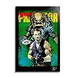 Arthole.it Schwarzenegger in Predator (Film, 1987) - Quadro Pop-Art Originale con Cornice, Dipinto, Stampa su Tela, Poster, Locandina