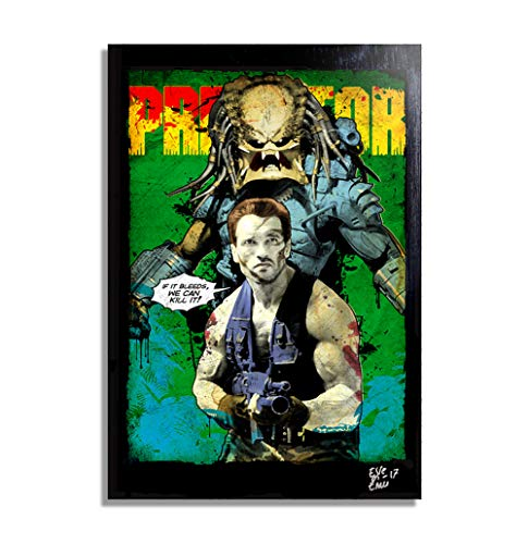 The Predator ( Film, 1987) - Original Gerahmt Fine Art Malerei, Pop-Art, Poster, Leinwand, Artwork, Film Plakat, Leinwanddruck