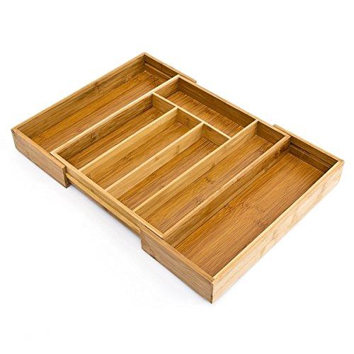 Deluxe Quality salvaspazio espandibile regolabile in legno di bambù cesto/vassoio