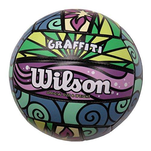 Wilson Pelota de vóley-playa, Exterior, Uso recreativo, Tamaño oficial, GRAFFITI, Morado/Azul/Verde, WTH4637XB