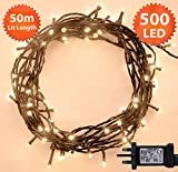Christmas Lights 500 LED 50m Warm White Indoor/Outdoor Fairy Lights String Tree Lights Festival/Bedroom/Party Decorations Memory Timer Mains Powered 164ft Lit Length 10m/32ft Lead Wire Green Cable