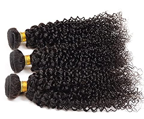 Brazilian Hair Extensions Jerry Curl Hair Weave Virgin Unprocessed Hair Brazilian Hair Bundles (10inch-30inches) 95-100g per Bundle Natural Colour Pack of 3 (10*12*12 inches)