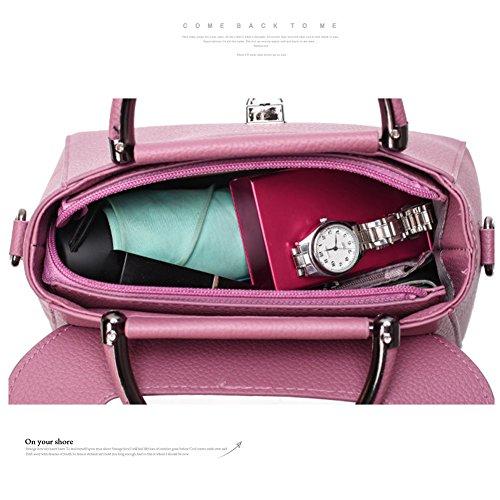 Sacchetti alla moda Yoome per le ragazze Lichee Patern Top Bag Handle Borse eleganti in pelle Vegan per le donne - Borgogna Nero