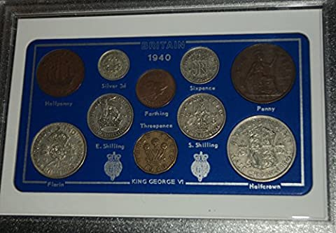1940 GB Great Britain British Coin Birth Year Vintage Retro Gift Set (77th Birthday Present or Wedding Anniversary)