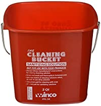 Winco PPL-3R Cleaning Bucket, 3-Quart, Red Sanitizing Solution