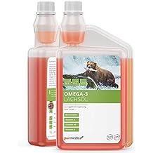 Aceite de salmón Omega-3 de Purmedica para perros, gatos y caballos, producto puro 100% natural, ideal como complemento alimenticio diario, botella de 1 litro