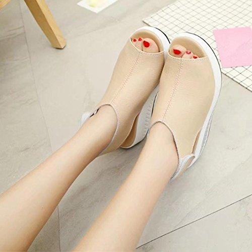 Omiky® Mode Frauen Shake Schuhe Sommer Sandalen Thick Bottom Higt Ferse Schuhe Beige
