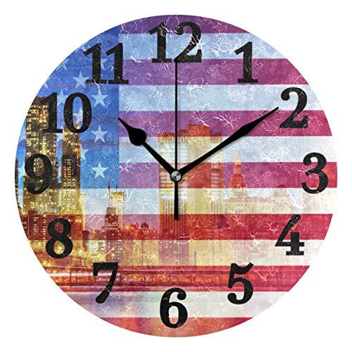Ahomy American Flag New York City Zahlen Wanduhr 24 cm rund Uhr geräuschlos Nicht tickend batteriebetrieben leicht ablesbar für Home Office Schule New York, New York City Flag