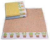 Betz 3 Stück Küchentücher Set Geschirrtuch KRÄUTER Größe 50x50 cm 100% Baumwolle Farbe orange blau gelb