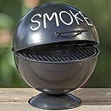 Boltze Sturm-Aschenbecher Kugelgrill-Design für Außenbereich - Mit Grillrost-Einlage und Sockel - Aufklappbar mit großem Fassungsvermögen - Ideal für Raucher und als Dekoration, auch für die Wohnung -