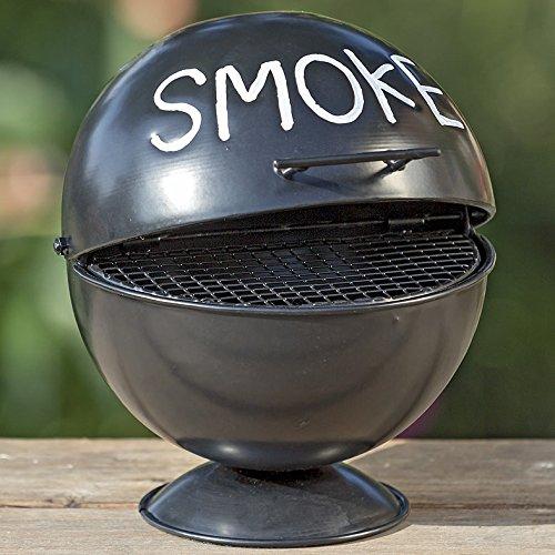 Boltze Sturm-Aschenbecher Kugelgrill-Design für Außenbereich - Mit Grillrost-Einlage und Sockel - Aufklappbar mit großem Fassungsvermögen - Ideal für Raucher und als Dekoration, auch für die Wohnung