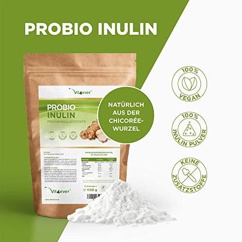 Probio Inulin Pulver – 1100 g – Hoher Ballaststoffgehalt – Präbiotikum – Laborgeprüft – Natürlich aus der Chicoree Wurzel – Ideal für Getränke, zum Kochen und Backen – 100%