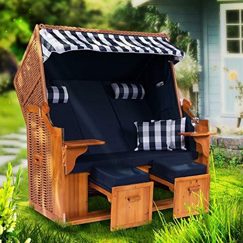 Möbelcreative Strandkorb Ostsee ROYAL XXL Volllieger - Extra Breit - 150 cm in blau weiß inklusive Schutzhülle, ideal für Garten und Terrasse