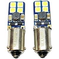 Juego de 2 bombillas LED H6W delgadas, pequeñas, planas, blancas y laterales para xenón Canbus BAX9S EB6R7