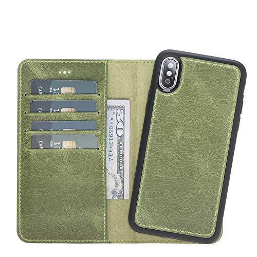 iPhone X Wallet Case [2-in-1] - Handgefertigte Premium Leder Magnetische abnehmbare Hülle - Flip Cover Standfunktion und Kartenfächer - in Geschenkbox und Handarbeit in Europa für Apple iPhone X, grün