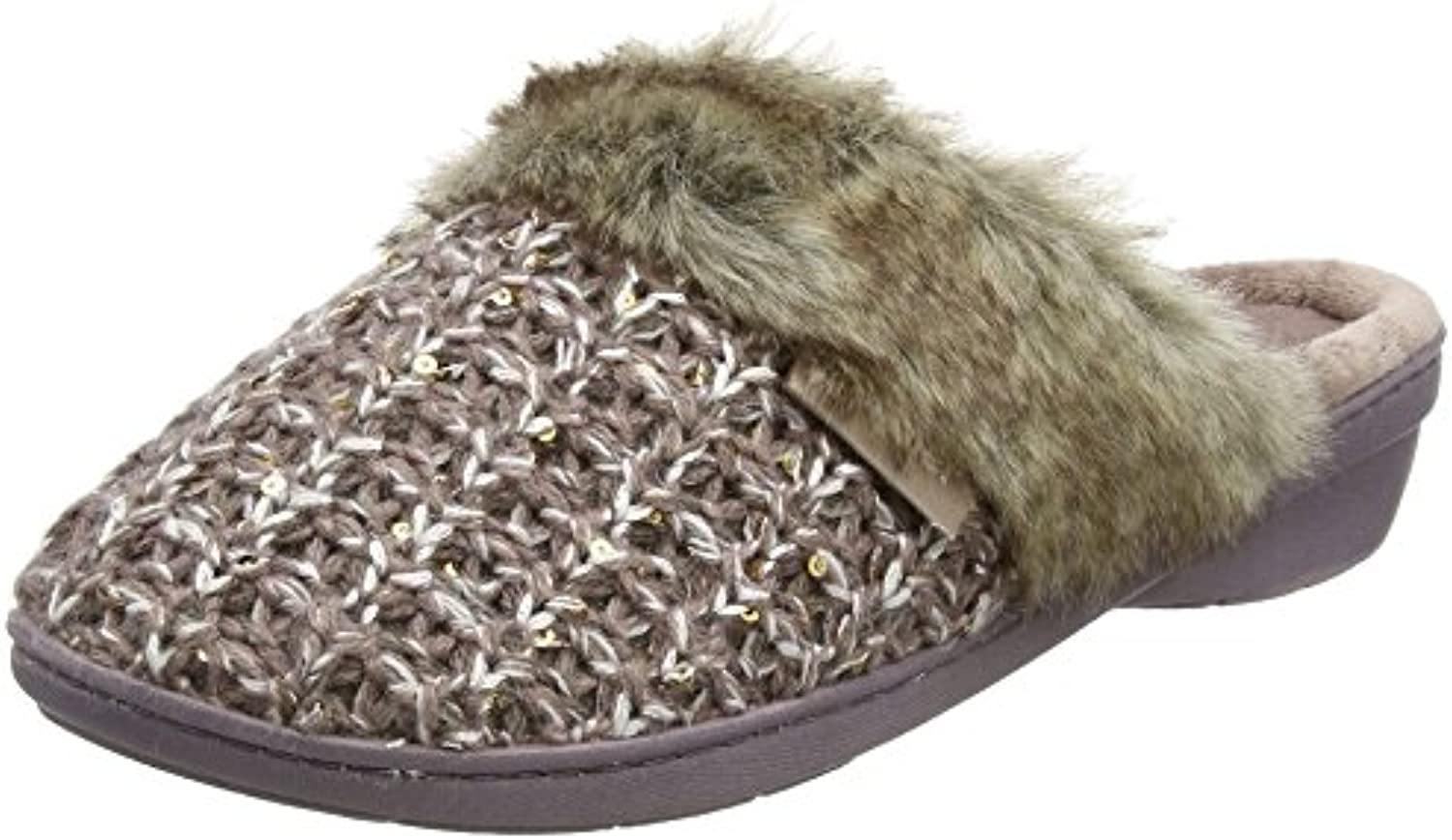Isotoner Sparkle Knit Mule Fur Slippers, Zapatillas Bajas para Mujer