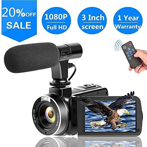 Videokamera mit Mikrofon Full HD 1080p 30fps 24.0MP Camcorder HD für YouTube Support Remote Controller