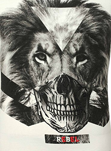 Key Largo Herren T-Shirt REBEL Vintage Optik Printshirt Löwe Totenkopf Skull Lion Weiß