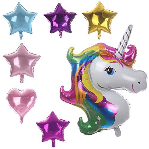 7pcs DIY Regenbogen Einhorn Ballon (1pc Einhorn Ballon + 4pc Stern Ballon + 2pc Herz Ballon) Upxiang Birthday Party Hochzeit Dekor Supplies Latex Ballon - Halloween-party Beste Dekor