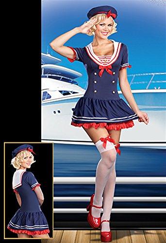 ssous sailor Weibliche Blue Marine Kapitän spielen Halloween co (Weiblichen Kapitäns Kostüm)