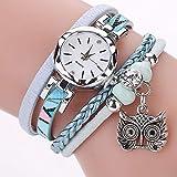 Owl Decor Reloj de Pulsera Mujer Reloj de Cuarzo Dial Redondo Elegante Moda Reloj Personalizado Femenino 2215-Blue-1 Tamaño