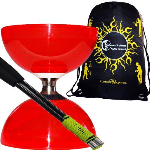 Diabolo Set Cyclone Quartz (Rot) Freiläufer (mit kugellager) Dreifache Lagerung Kombi-Set mit Diablo CARBON-Handstäbe und Diaboloschnur +Reisetasche! Jongliergeräte / Diabolo für Profis.