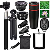 Phones Lens Kit 10 in 1 Objectives iphone Sincewe, 8x Telephoto Lens Smartphone / Fisheye Lens / Objective 2 in 1 Macro and Wide Angle, Stick Selfies Bluetooth 3.0, Mini Tripod for iPhone 4S, 5, 5C, 5S y 6 6S, Galaxy S3, S4, S5, S6 S7, Samsung Gaalxy notes 2 3 4, HTC, Nokia and Other Smartphone